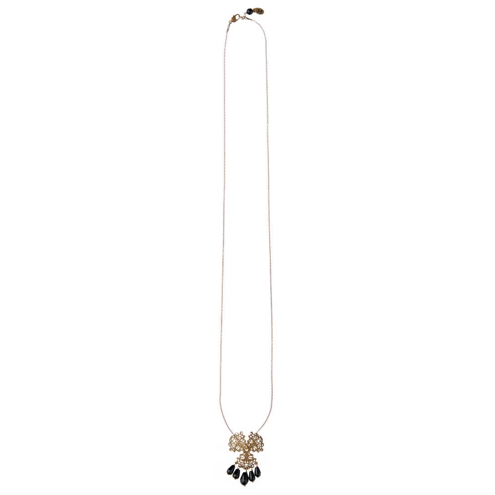 Pepelù - Filigree pendant necklace with black onyx