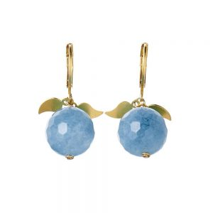 Pepelù - Teardrop earrings with semi-precious stones and small leaves