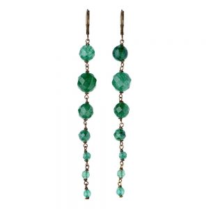 Pepelù - Hanging earrings in antique brass and semi-precious stones