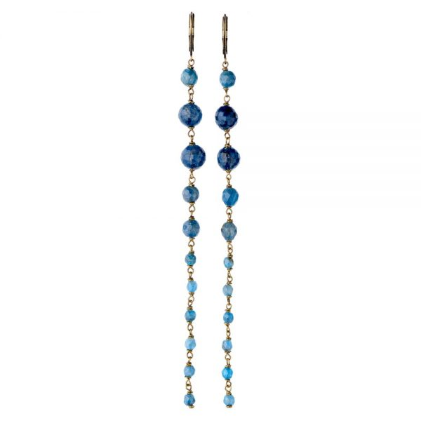 Pepelù - Orecchini pendenti extra long in ottone anticato e pietre dure