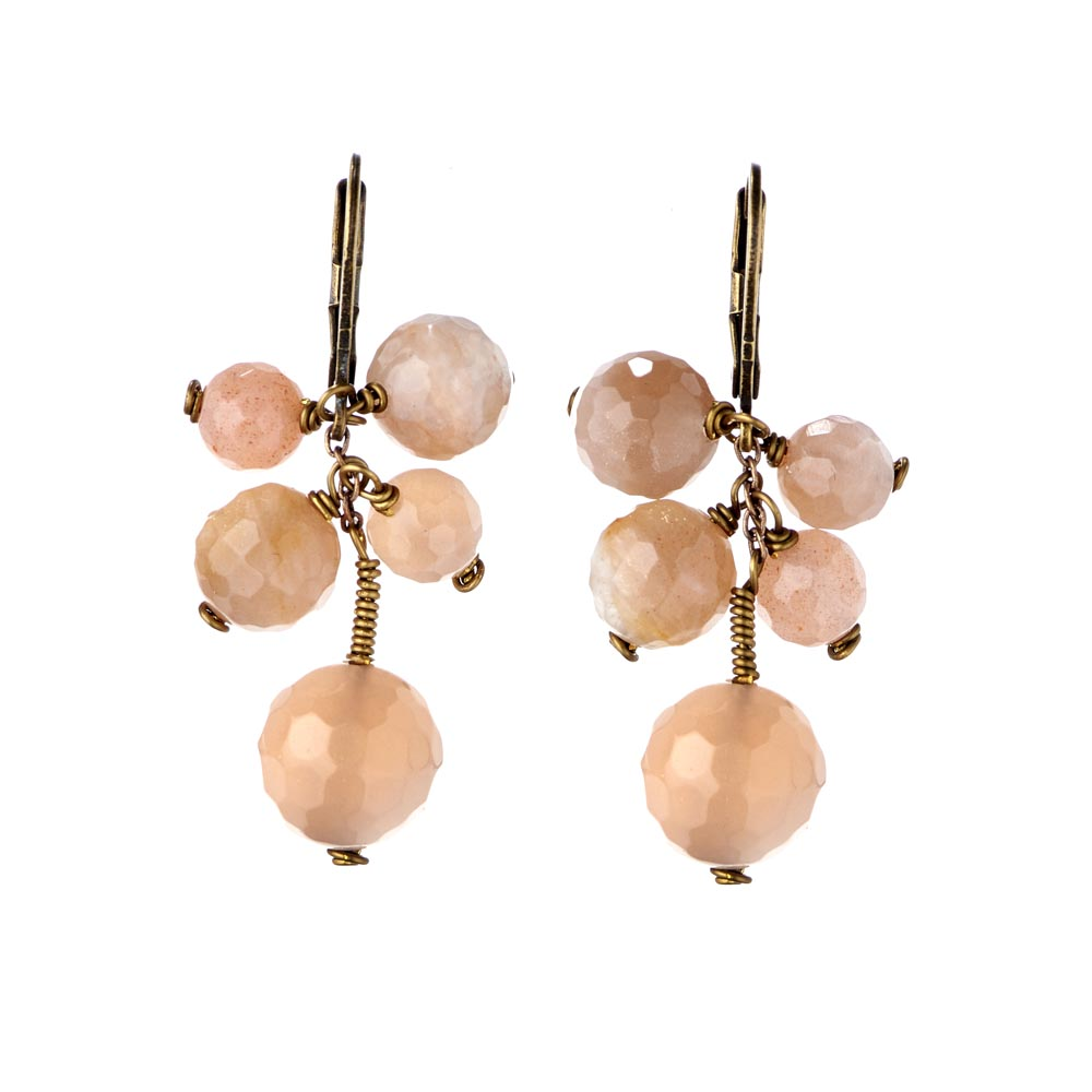 Pepelù - Cluster earrings in antique brass and semi-precious stones