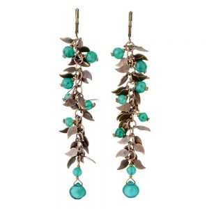 Pepelù - Earrings of semi-precious stones and small leaves