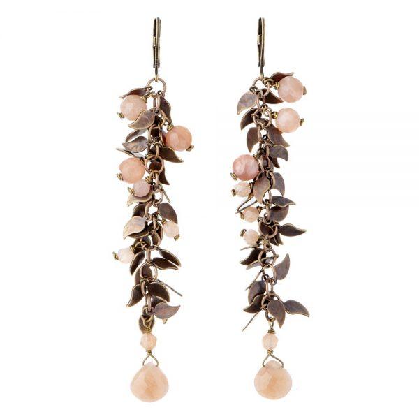 Pepelù - Orecchini perline di pietre dure e foglioline