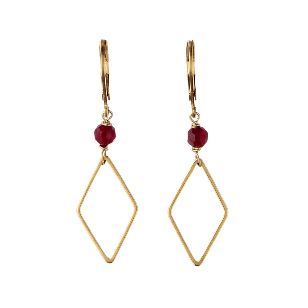 Pepelù - Rhombus earrings in brass and semi-precious stones