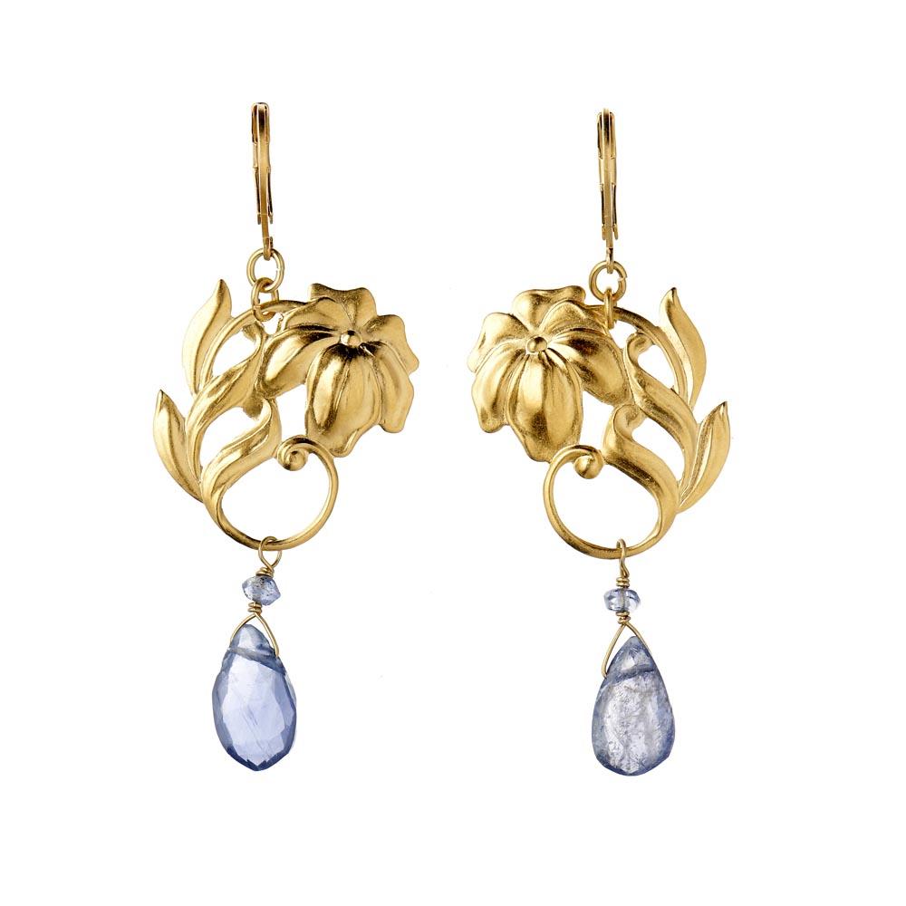 Pepelù - Art Nouveau flower dangle earrings