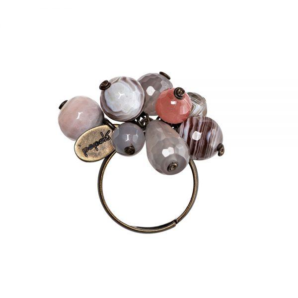 Pepelù - Anello grappolo di pietre dure e ottone anticato