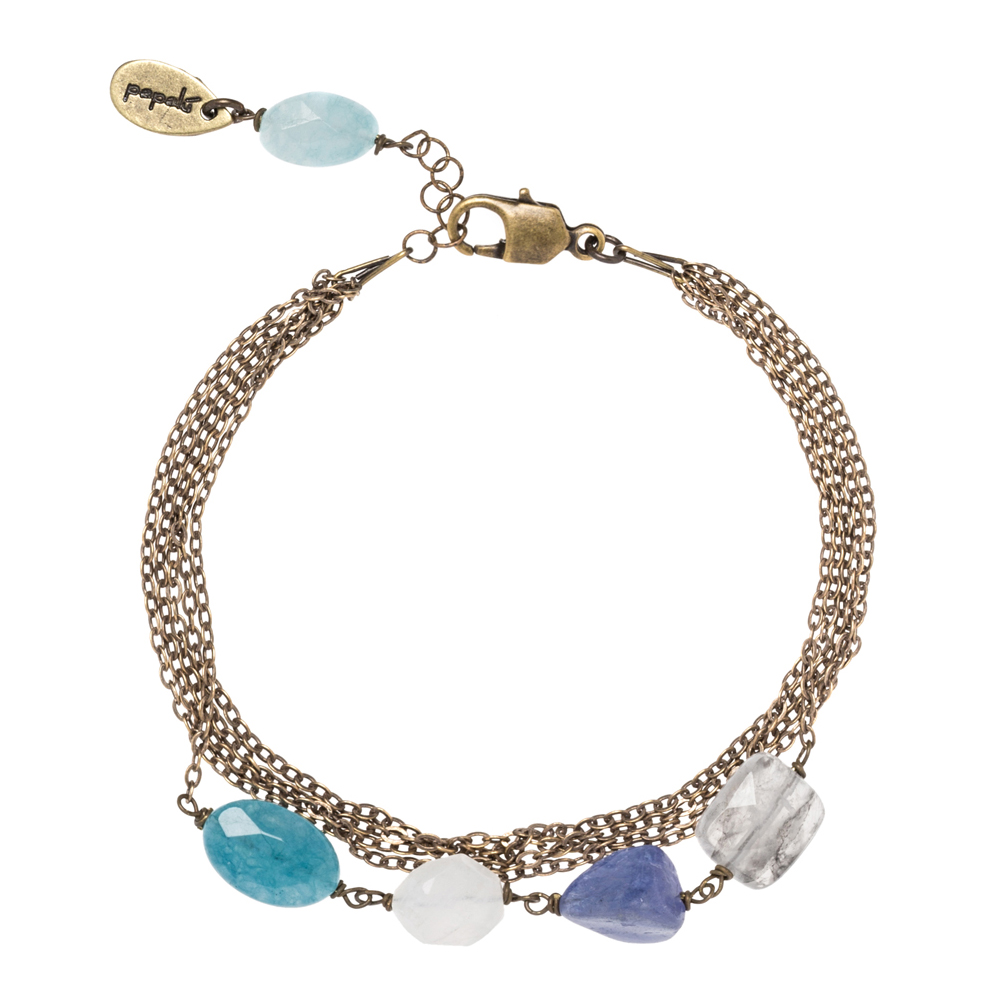 Pepelù - Bracelet chains in vintage brass with semi-precious stones