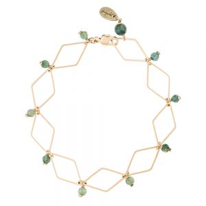 Pepelù - Gold plated rhombus bracelet and semi-preciuos stones