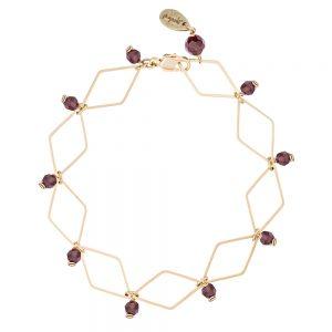 Pepelù - Bracciale rombi in ottone placcato oro e pietre