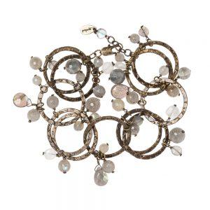 Pepelù - Bracciale anelli in ottone anticato e pietre dure