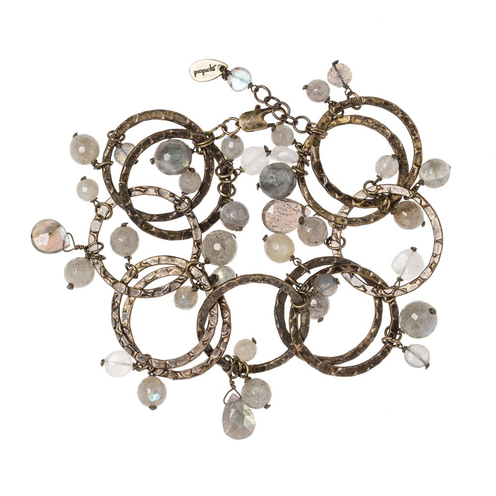 Pepelù - Vintage brass rings bracelet with semi-precious stones