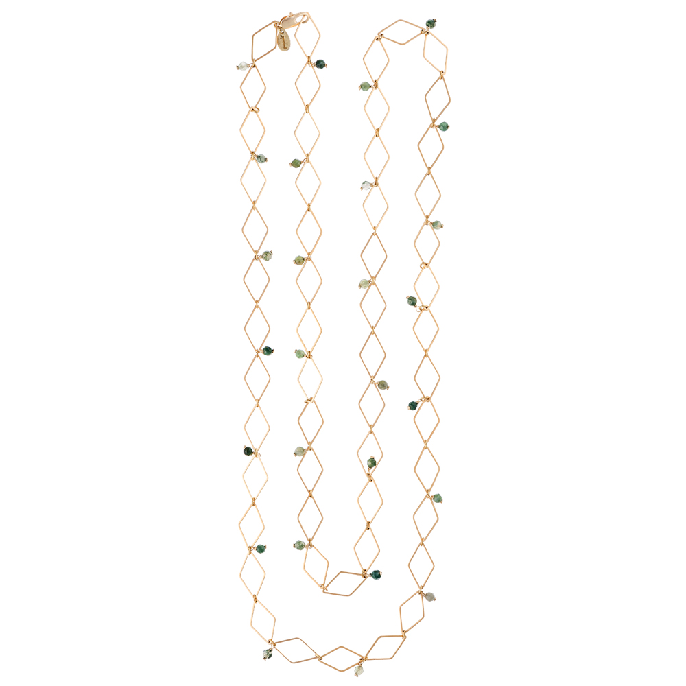 Pepelù - Gold plated rhombus necklace and semi-precious stones