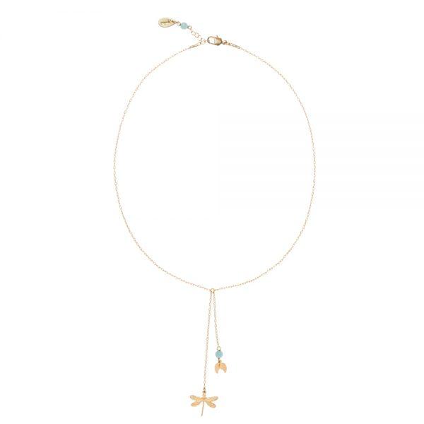 Pepelù - Collana petit con libellula in ottone placcato oro