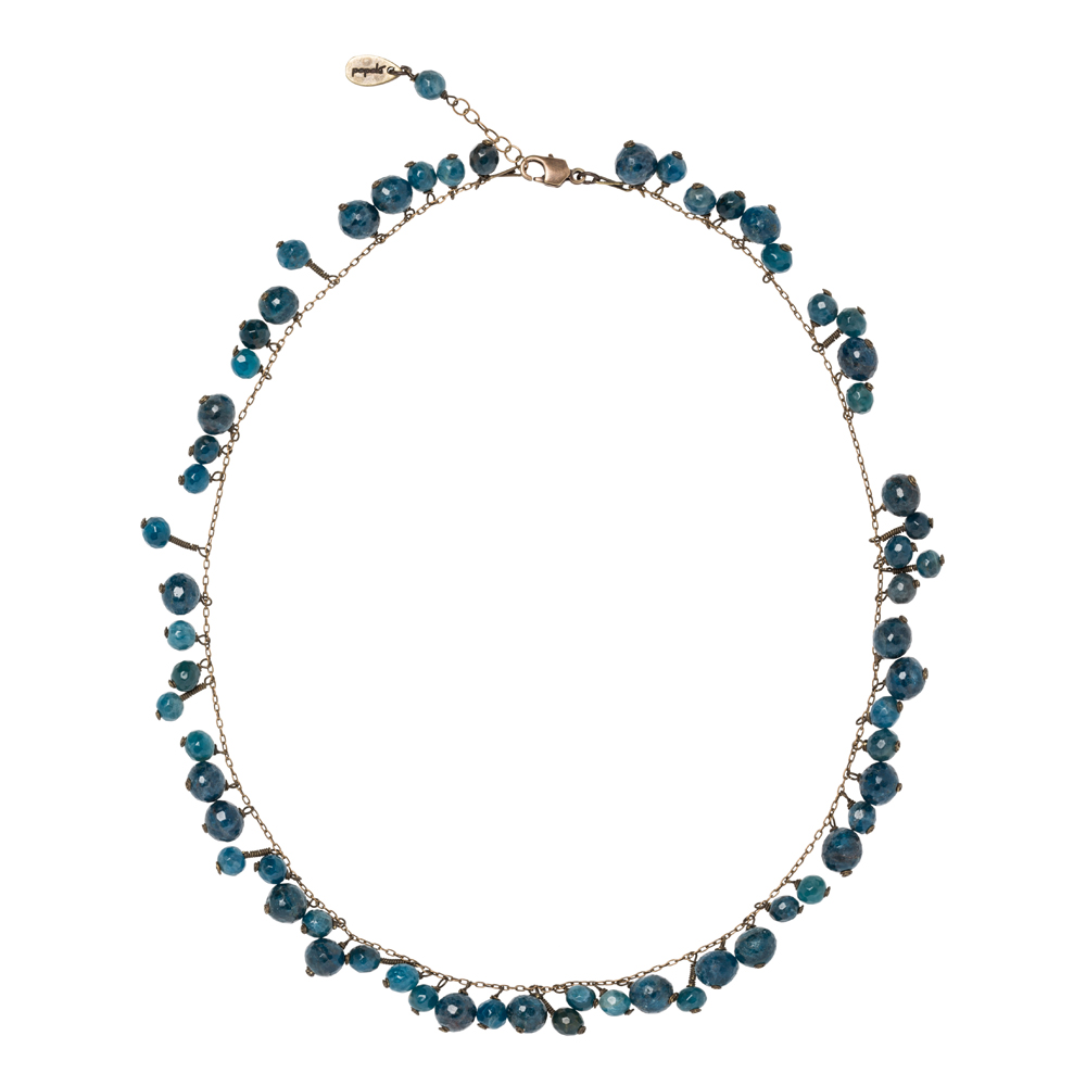 Pepelù - Cluster necklace in vintage brass and semi-precious stones