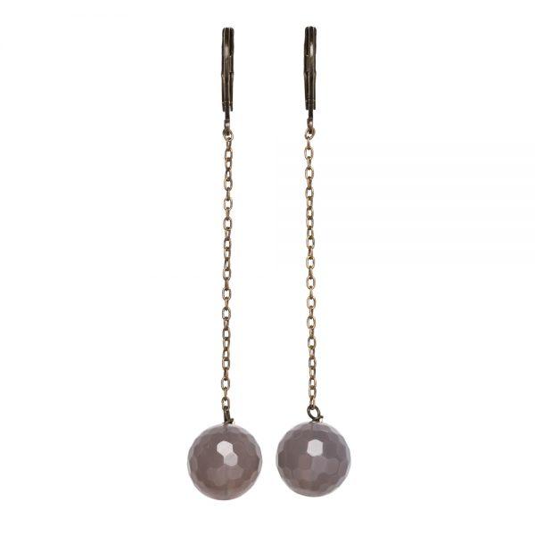 Pepelù - Orecchini pendenti con catena sottile in ottone e pietre dure