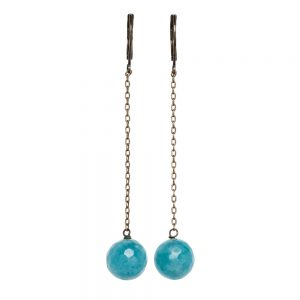 Pepelù - Hanging earrings with thin brass chain and semi-precious stones