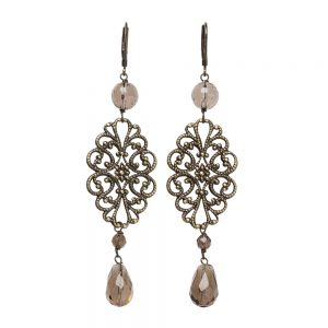 Pepelù - Filigree earrings with brass and semi-precious stones