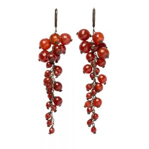 Pepelù - Vintage brass cluster earrings and semi-precious stones