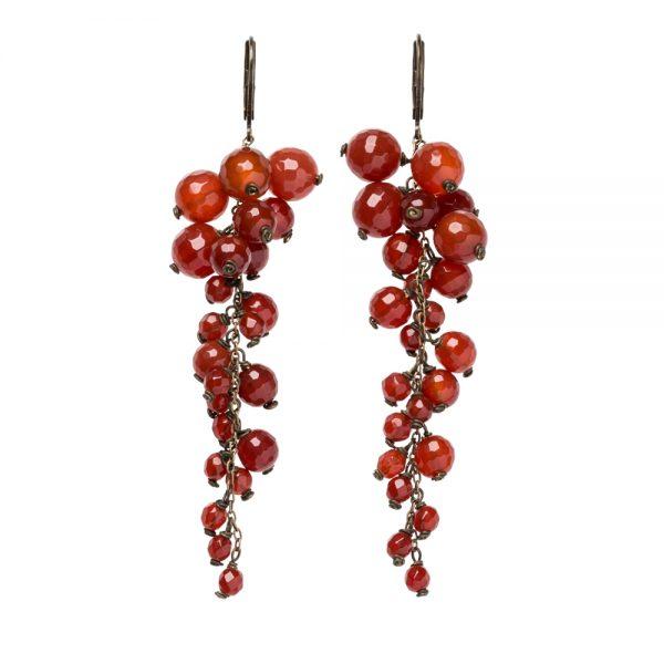 Pepelù - Orecchini grappoli in ottone anticato e pietre dure