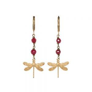 Pepeplù - Orecchini petit libellula in ottone placcato oro