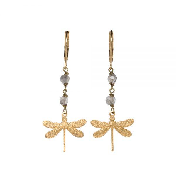 Pepelù - Orecchini petit libellula in ottone placcato oro