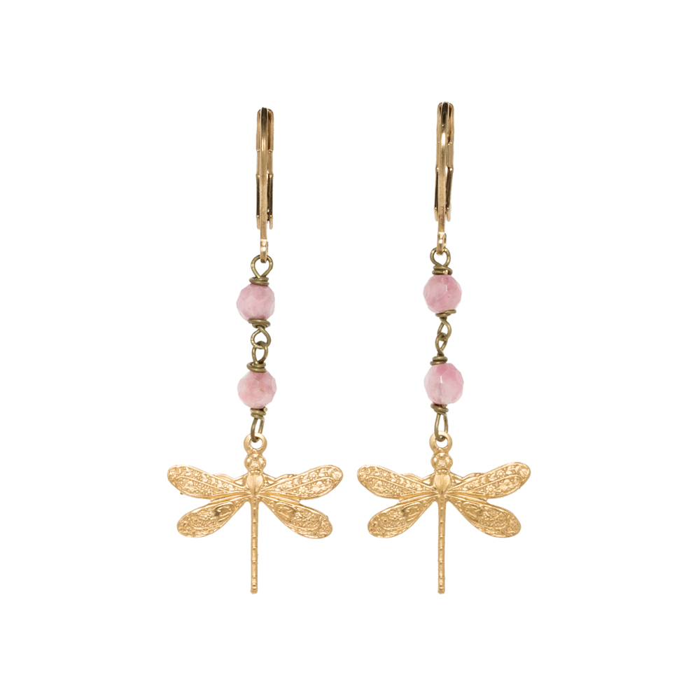 Pepelù - Petit dragonfly earrings in gold plated brass