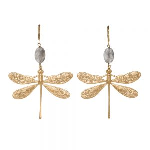 Pepelù - Dragonfly earrings in gold plated brass
