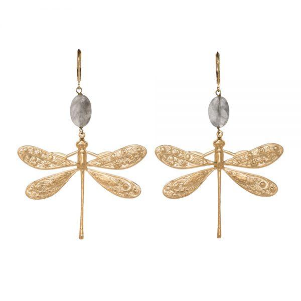 Pepelù - Orecchini libellula in ottone placcato oro