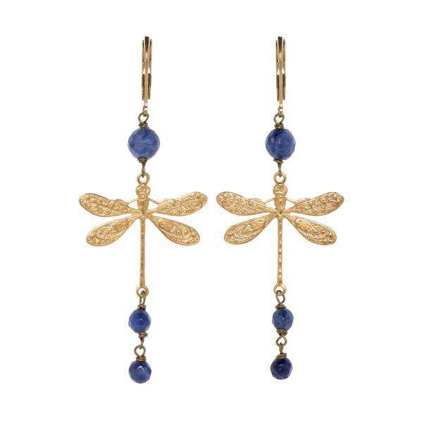 Pepelù - Orecchini libellula medium size in ottone placcato oro