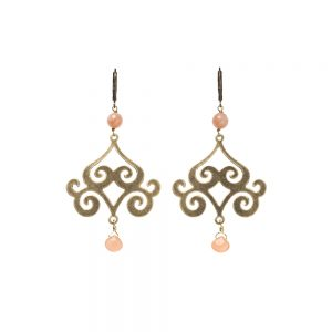 Pepelù - Arabesque earrings in vintage brass with semi-precious stones