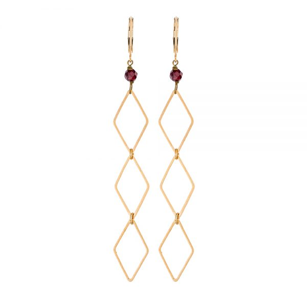 Pepelù - Orecchini pendenti con rombi in ottone placcato oro