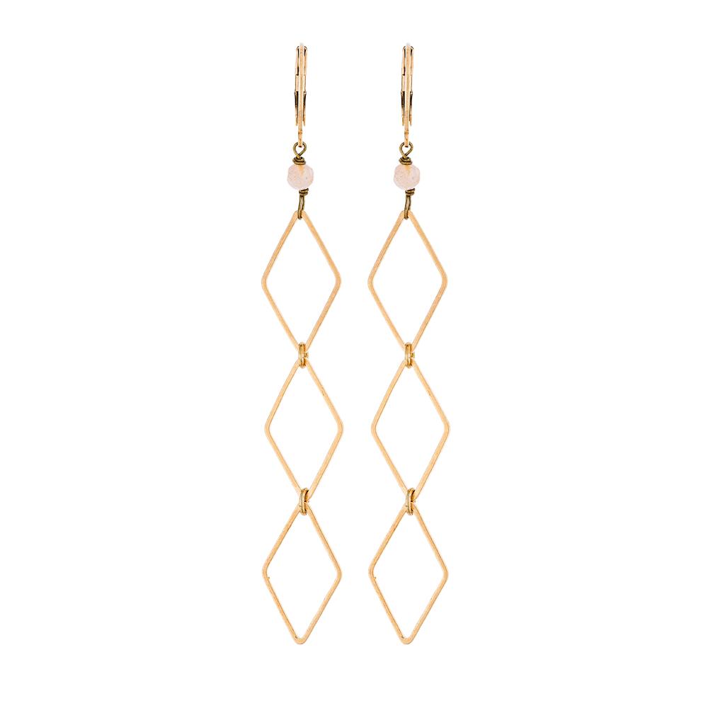 Pepelù - Gold plated rhombus earrings and semi-precious stones