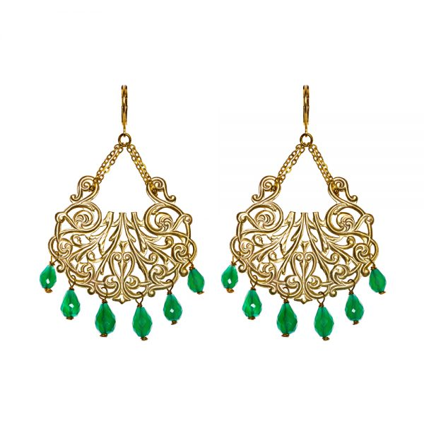 Pepelù gold plated harp earrings with semi-precious stones
