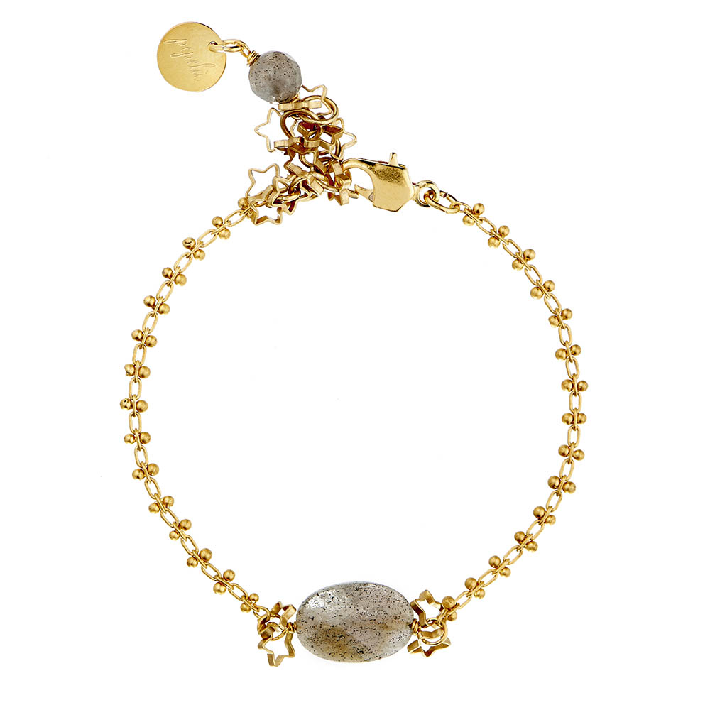 Pepelù - bracelet in brass with semi-precious stones and small sparkling stars
