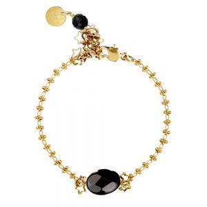 Pepelù - bracciale in ottone con pietre dure e piccole stelle scintillanti