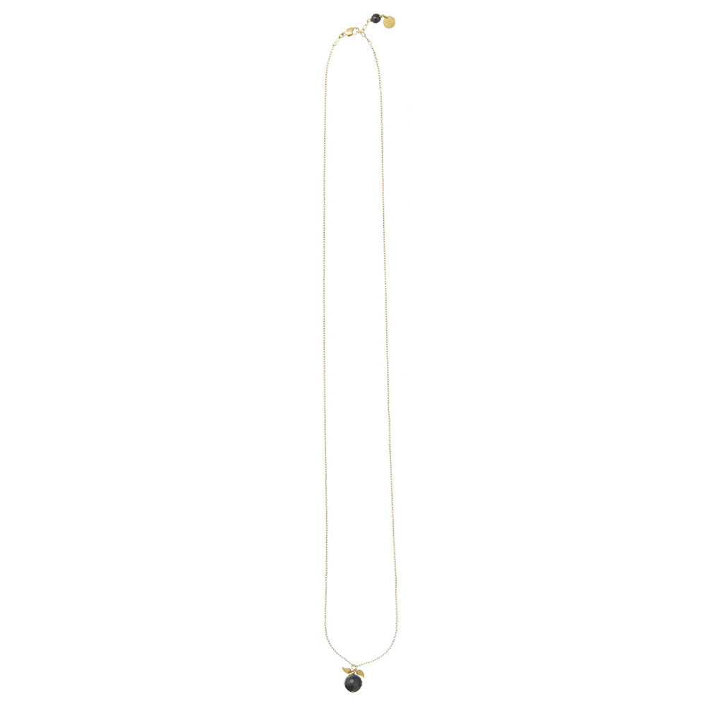 Pepelù - Extra long semi-precious stone necklace with small leaves