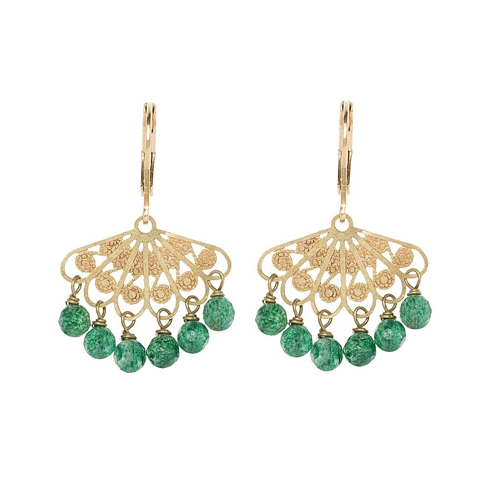 Pepelù - Filigree fan earrings with semi-precious stones