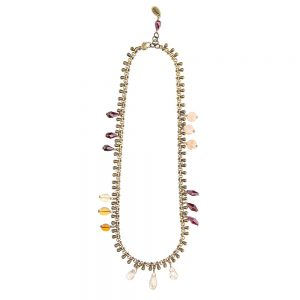 Pepelù - Gypsy necklace in antique brass and semi-precious stones