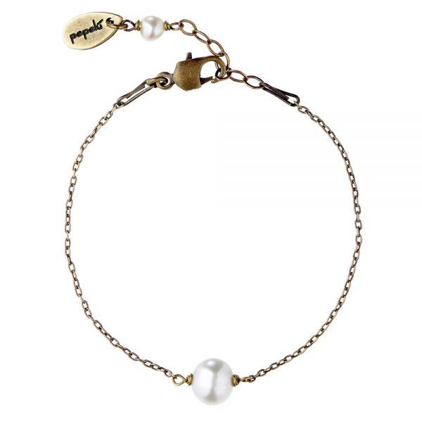 Pepelù - Bracciale in ottone e perla di fiume