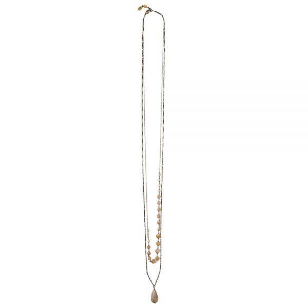 Pepelù - Collana doppia catena in ottone e goccia