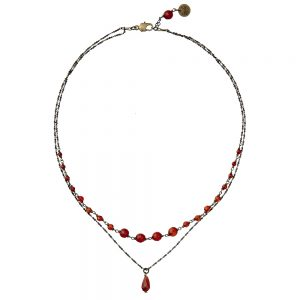 Pepelù - Double strand necklace in brass and semi-precious stones