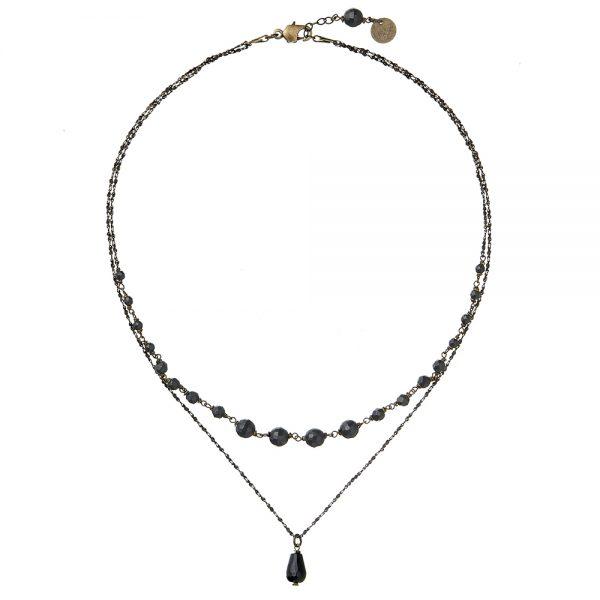 Pepelù - Collana girocollo a due fili in ottone e pietre dure