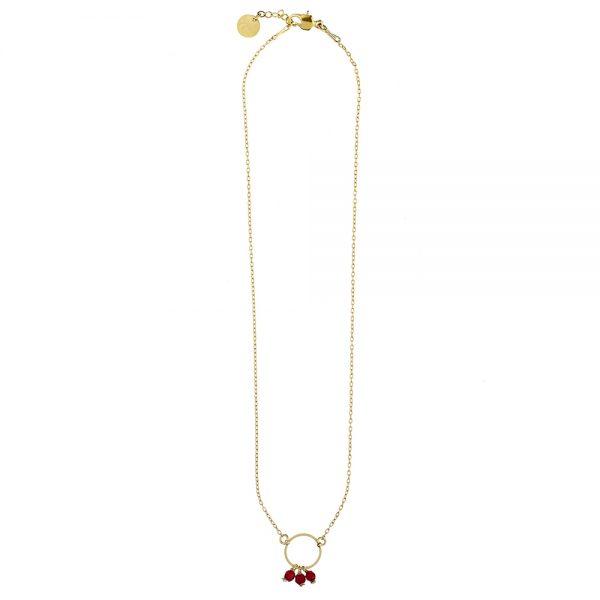 Pepelù - Brass necklace with circle pendant and semi-precious stones
