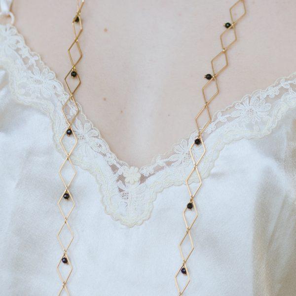 Pepelù - Collana rombi in ottone e pietre dure