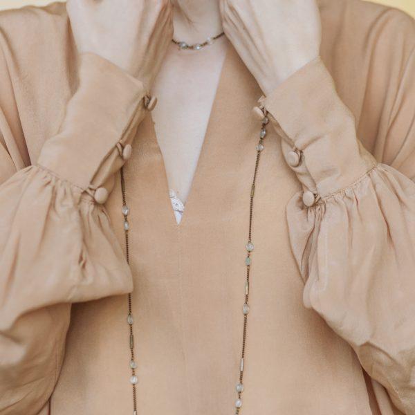 Pepelù - Collana catena geometrica e pietre