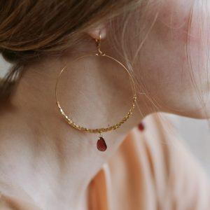 Hoop and teardrop earrings
