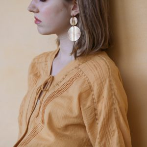 Pepelù -Double gilded disc earrings
