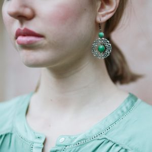 Pepelù - Round filigree and stone earrings