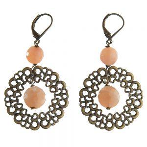 Pepelù - Round filigree and stone earrings