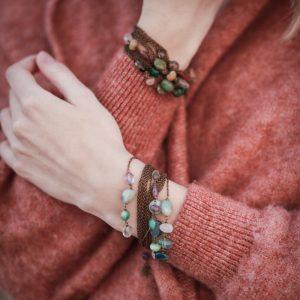 Pepelù - Bracciale catene in ottone anticato e pietre dure